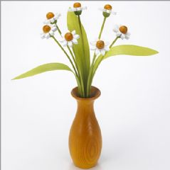 7 white Daisies with 3 green leaves with yellow 'classic' vase